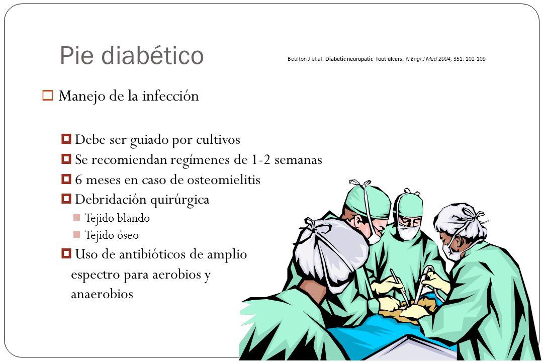 Pie diabético Manejo de la infección Debe ser guiado por cultivos