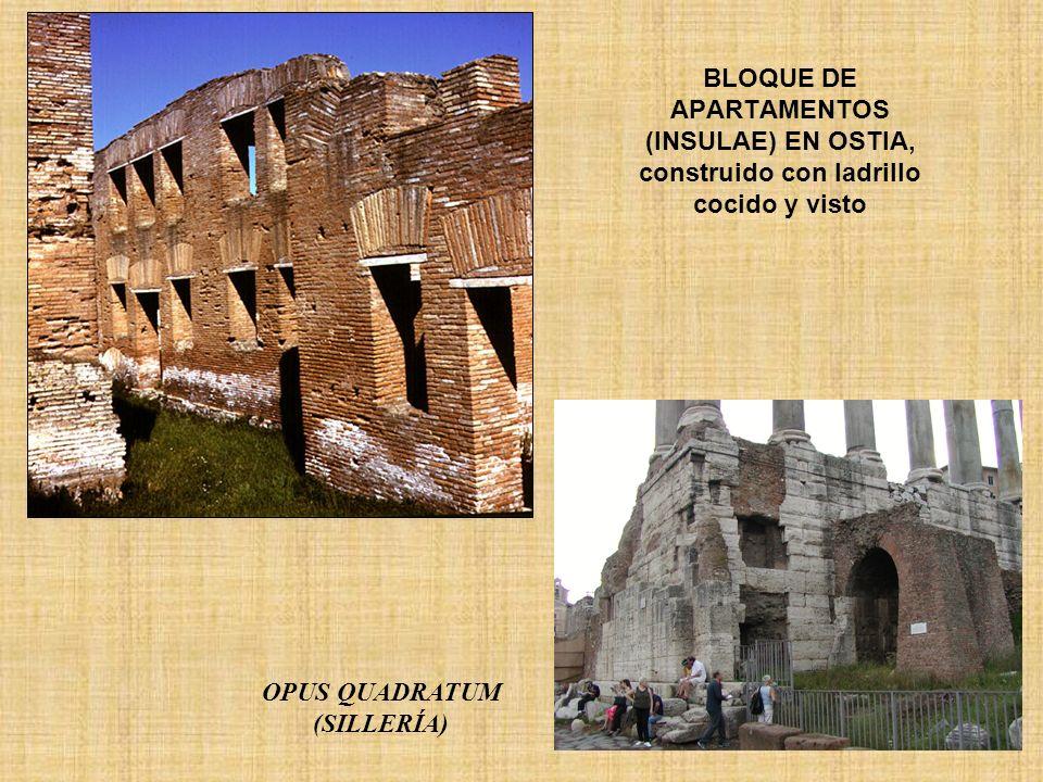BLOQUE DE APARTAMENTOS (INSULAE) EN OSTIA, construido con ladrillo cocido y visto