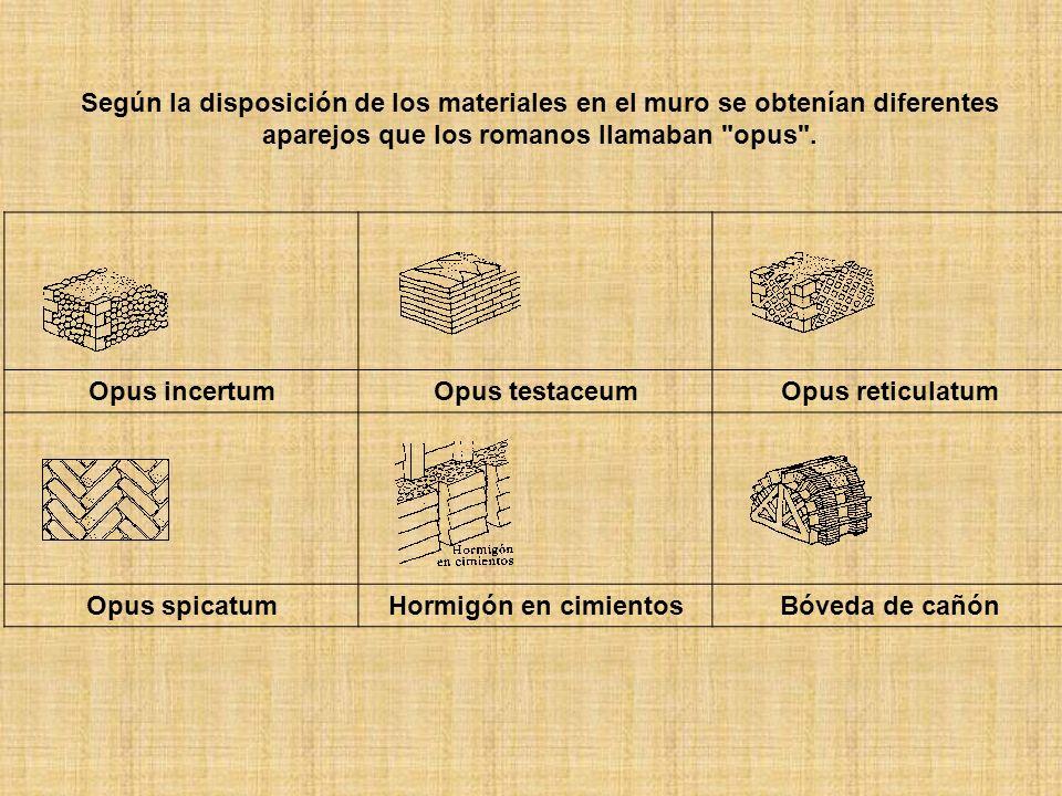 Según la disposición de los materiales en el muro se obtenían diferentes aparejos que los romanos llamaban opus .