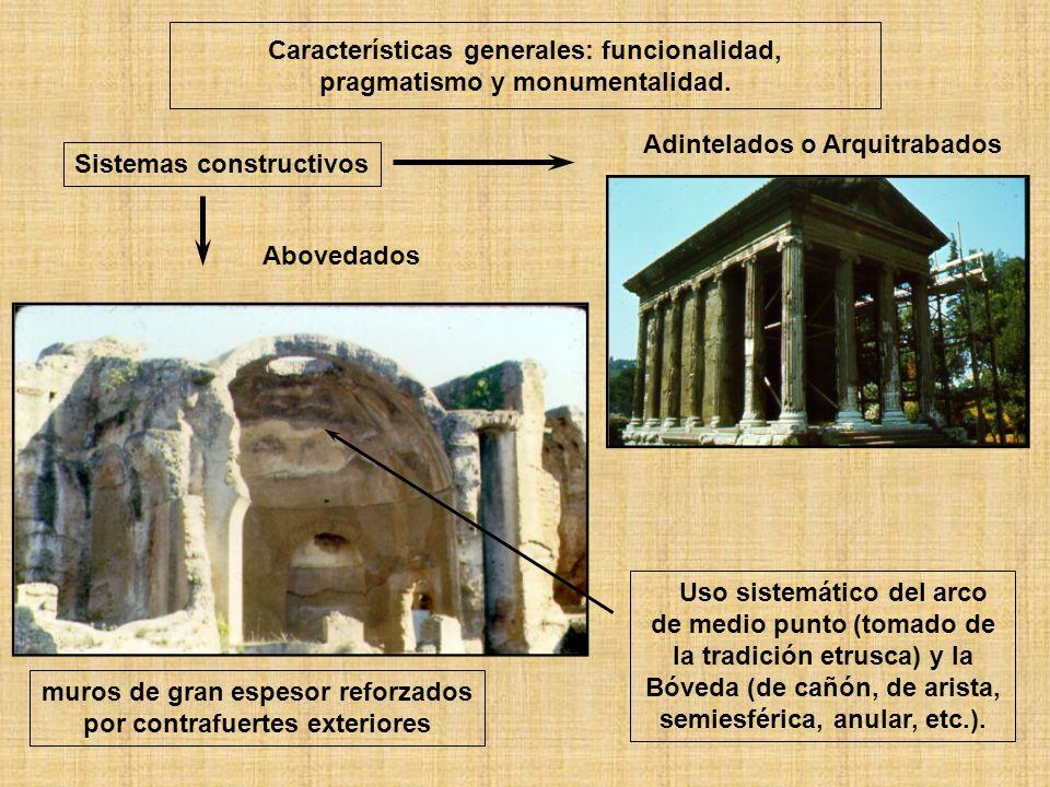 muros de gran espesor reforzados por contrafuertes exteriores