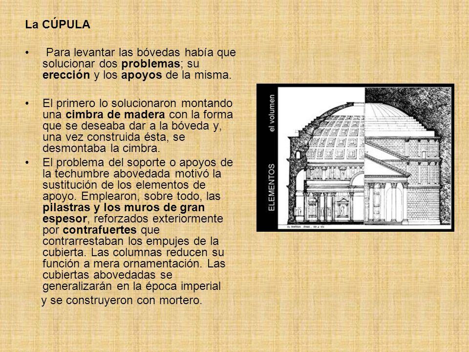 La CÚPULA Para levantar las bóvedas había que solucionar dos problemas; su erección y los apoyos de la misma.