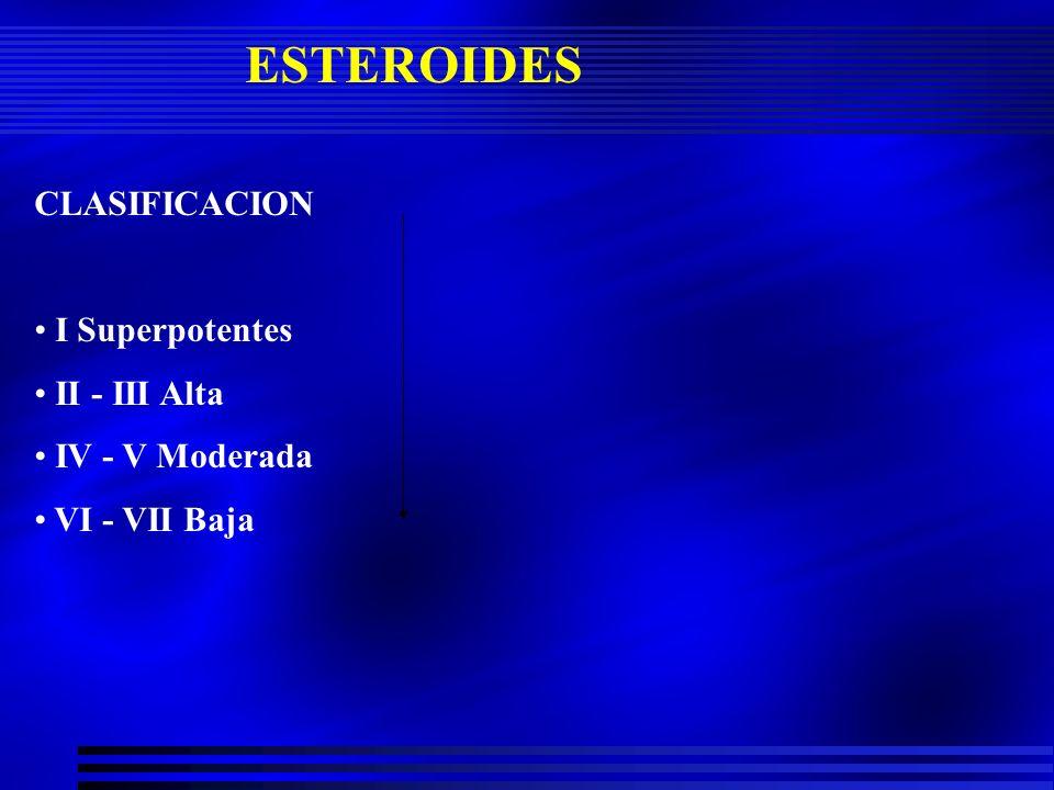 ESTEROIDES CLASIFICACION I Superpotentes II - III Alta IV - V Moderada