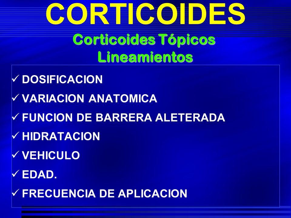 CORTICOIDES Corticoides Tópicos Lineamientos DOSIFICACION