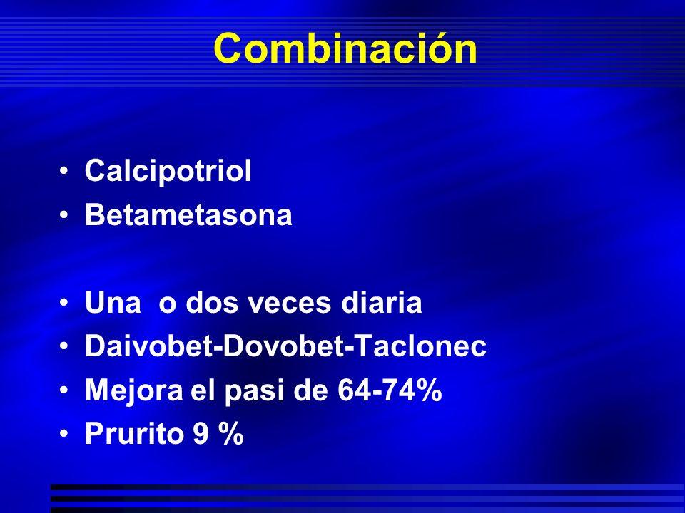 Combinación Calcipotriol Betametasona Una o dos veces diaria