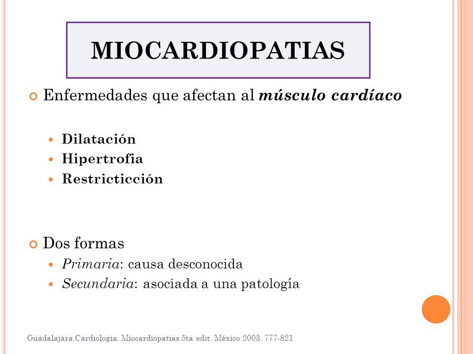 MIOCARDIOPATIAS Enfermedades que afectan al músculo cardíaco