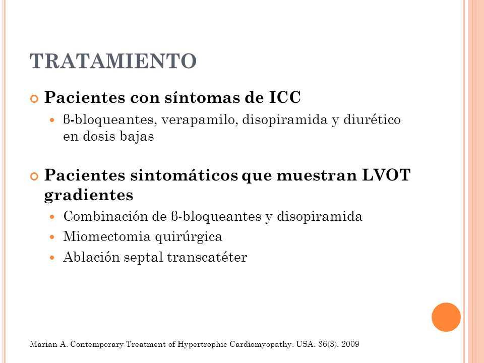 TRATAMIENTO Pacientes con síntomas de ICC