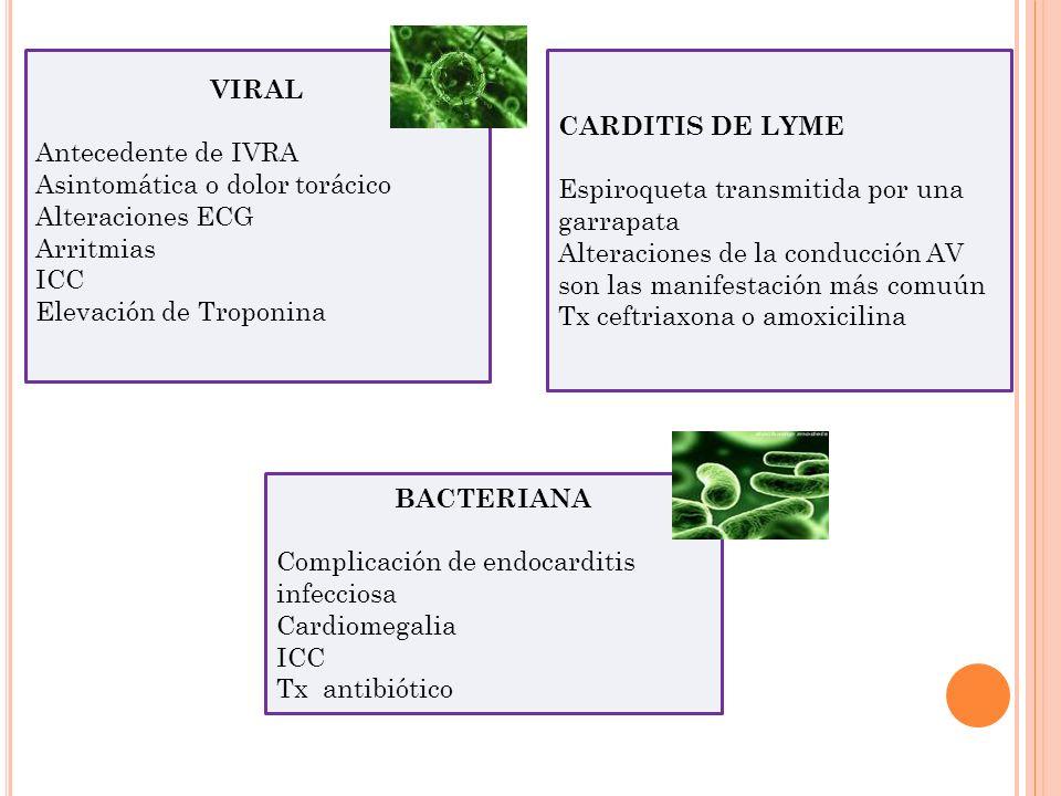 VIRAL Antecedente de IVRA. Asintomática o dolor torácico. Alteraciones ECG. Arritmias. ICC. Elevación de Troponina.