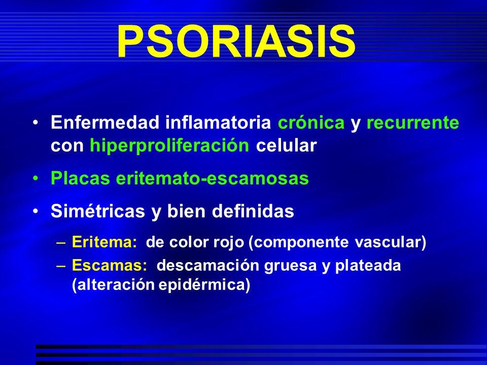 PSORIASIS Enfermedad inflamatoria crónica y recurrente con hiperproliferación celular. Placas eritemato-escamosas.