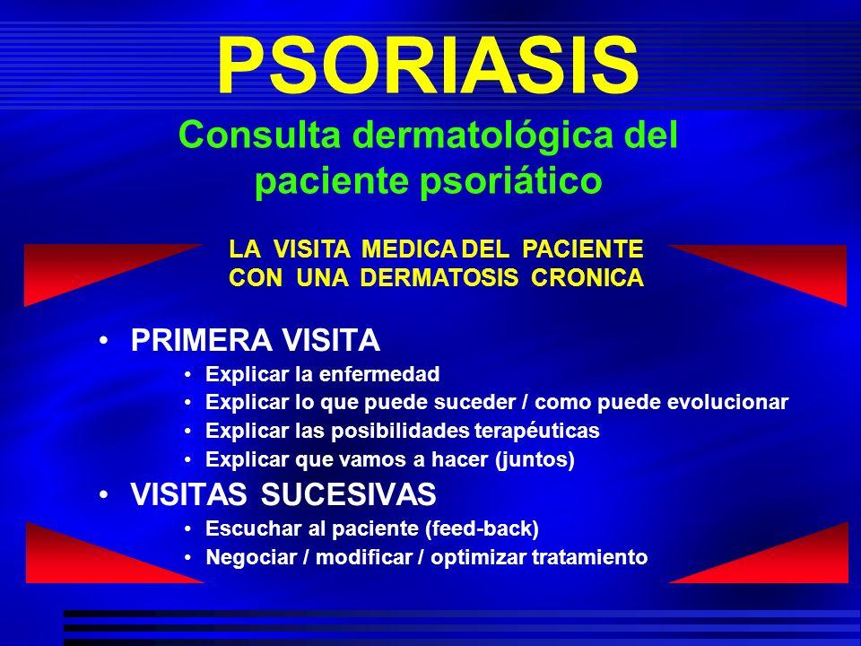 PSORIASIS Consulta dermatológica del paciente psoriático