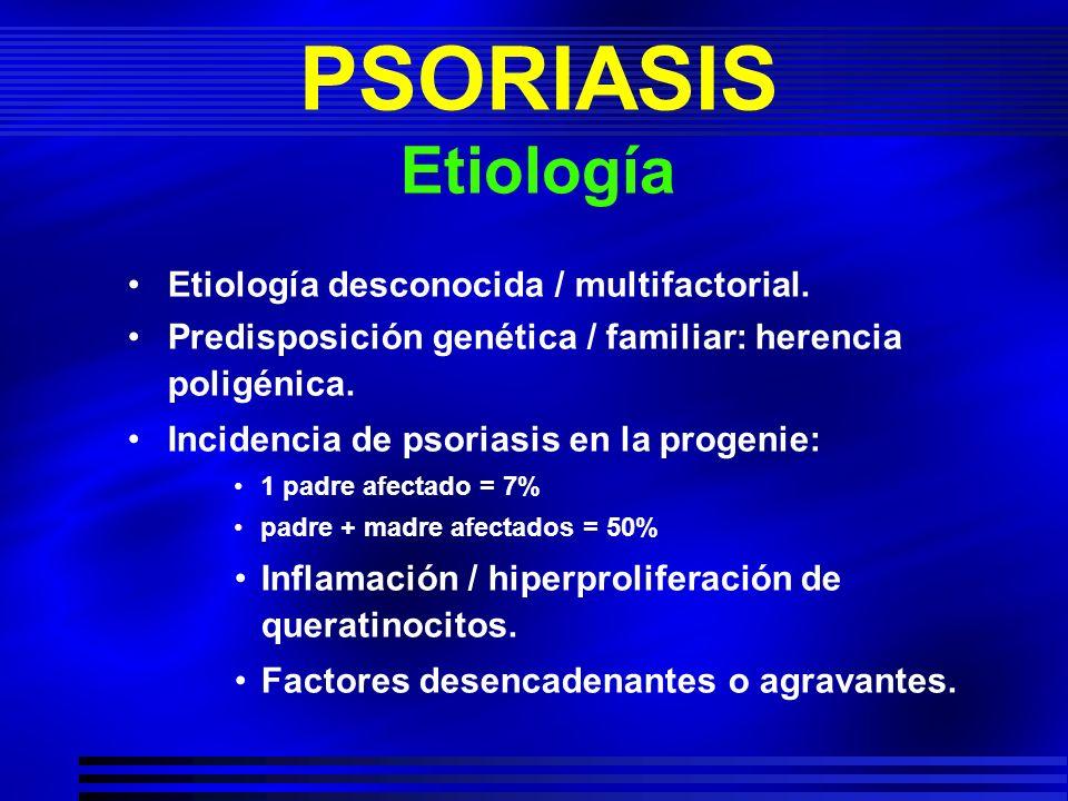 PSORIASIS Etiología Etiología desconocida / multifactorial.