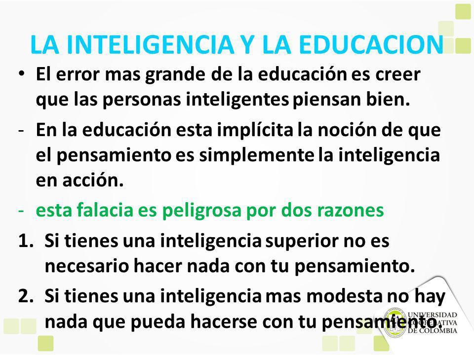 LA INTELIGENCIA Y LA EDUCACION