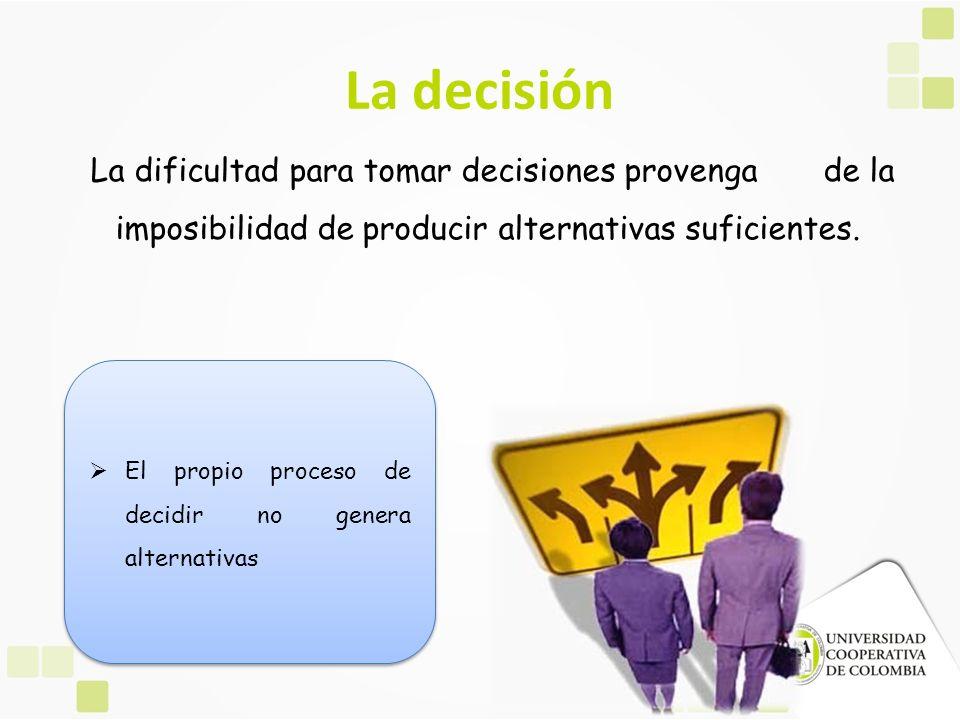 La decisión La dificultad para tomar decisiones provenga de la imposibilidad de producir alternativas suficientes.