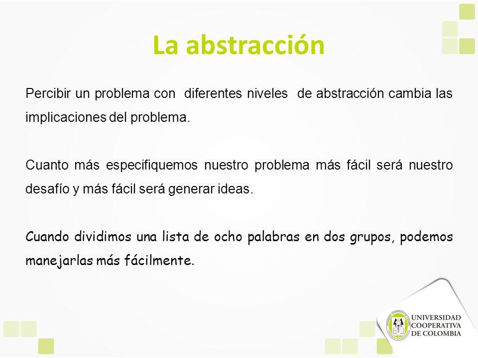 La abstracción Percibir un problema con diferentes niveles de abstracción cambia las implicaciones del problema.