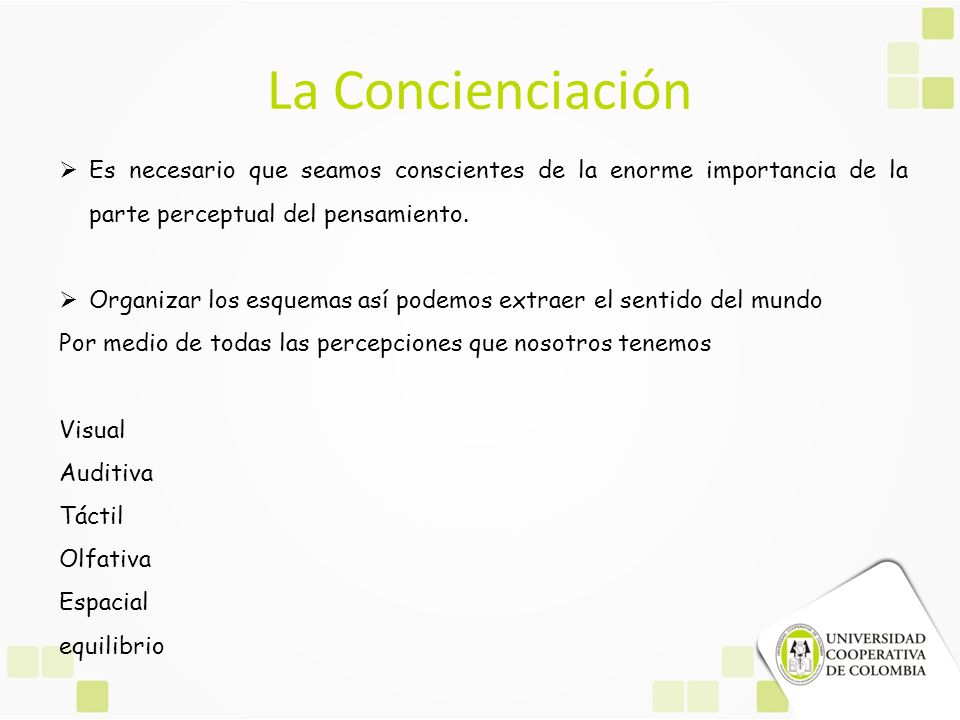 La Concienciación Es necesario que seamos conscientes de la enorme importancia de la parte perceptual del pensamiento.