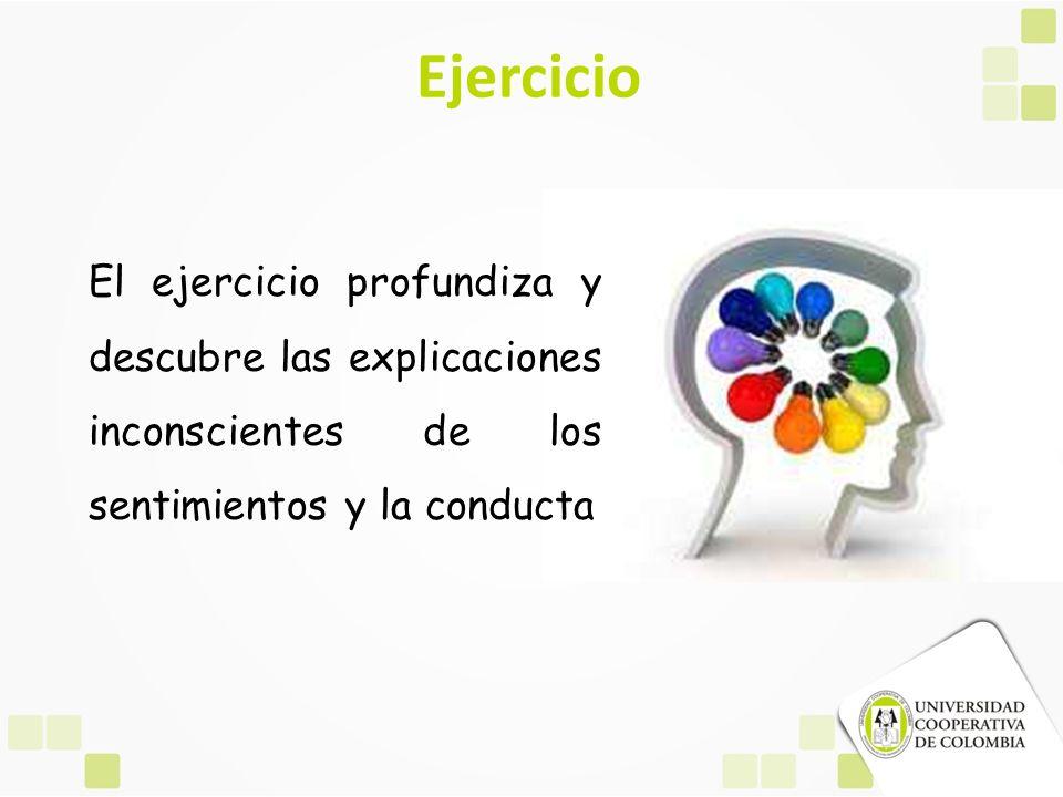 Ejercicio El ejercicio profundiza y descubre las explicaciones inconscientes de los sentimientos y la conducta.