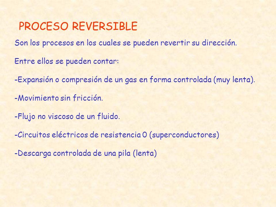 PROCESO REVERSIBLE Son los procesos en los cuales se pueden revertir su dirección. Entre ellos se pueden contar: