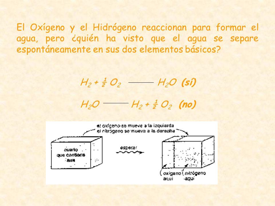 El Oxígeno y el Hidrógeno reaccionan para formar el agua, pero ¿quién ha visto que el agua se separe espontáneamente en sus dos elementos básicos