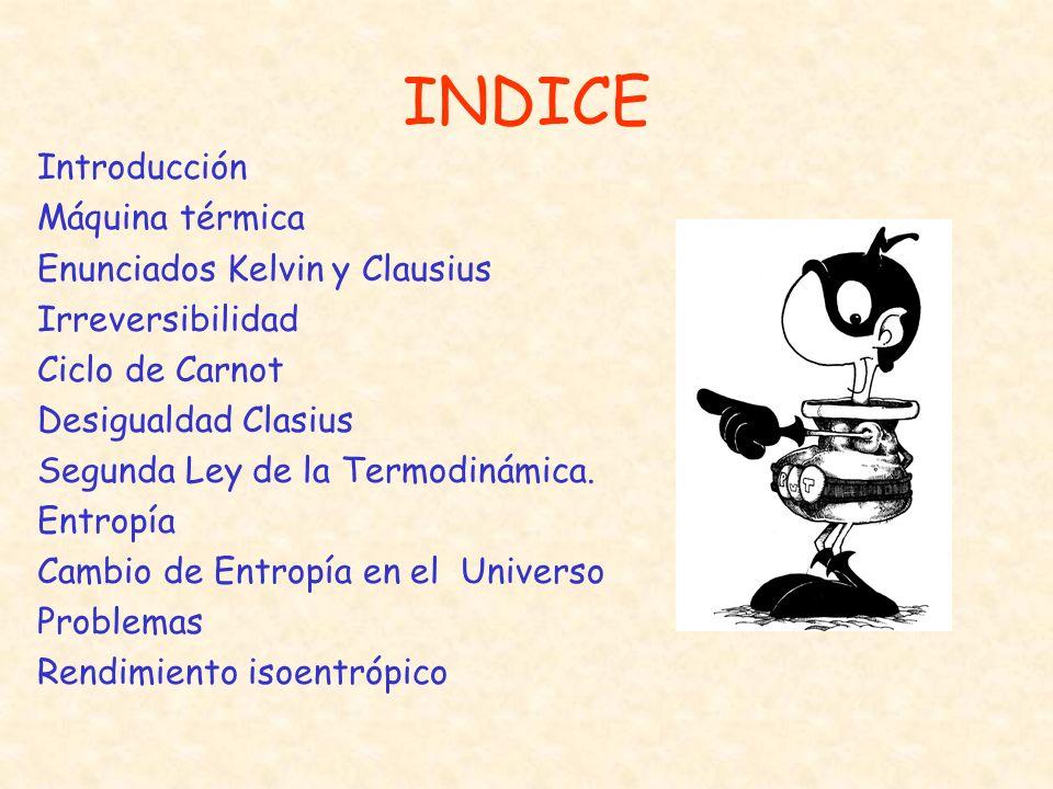 INDICE Introducción Máquina térmica Enunciados Kelvin y Clausius