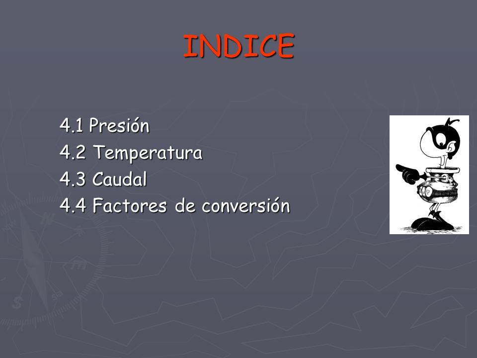 INDICE 4.1 Presión 4.2 Temperatura 4.3 Caudal
