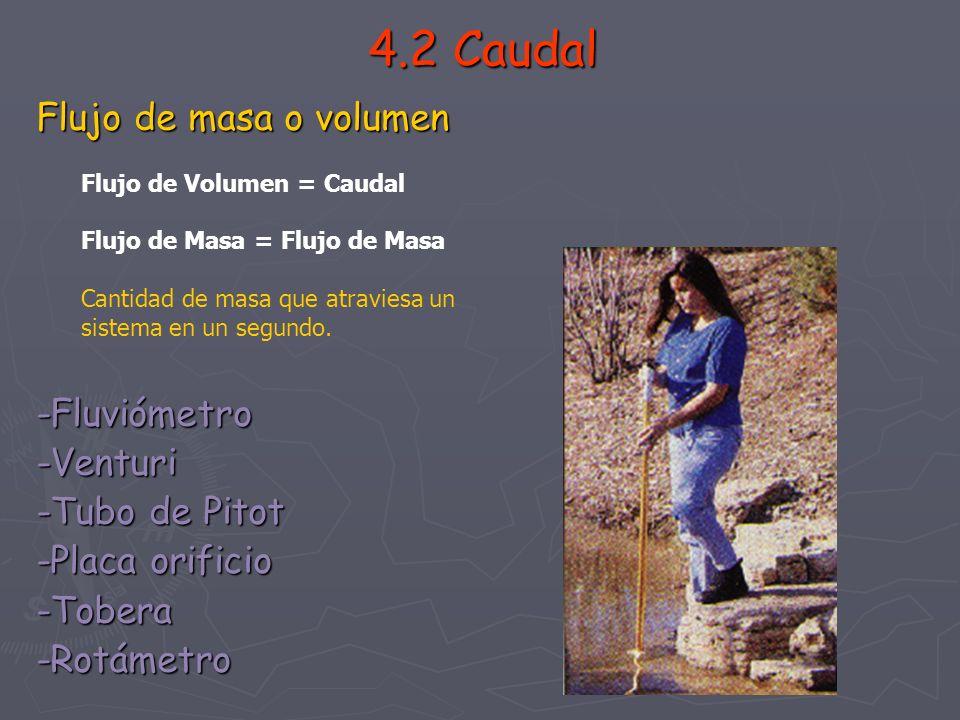 4.2 Caudal Flujo de masa o volumen -Fluviómetro -Venturi