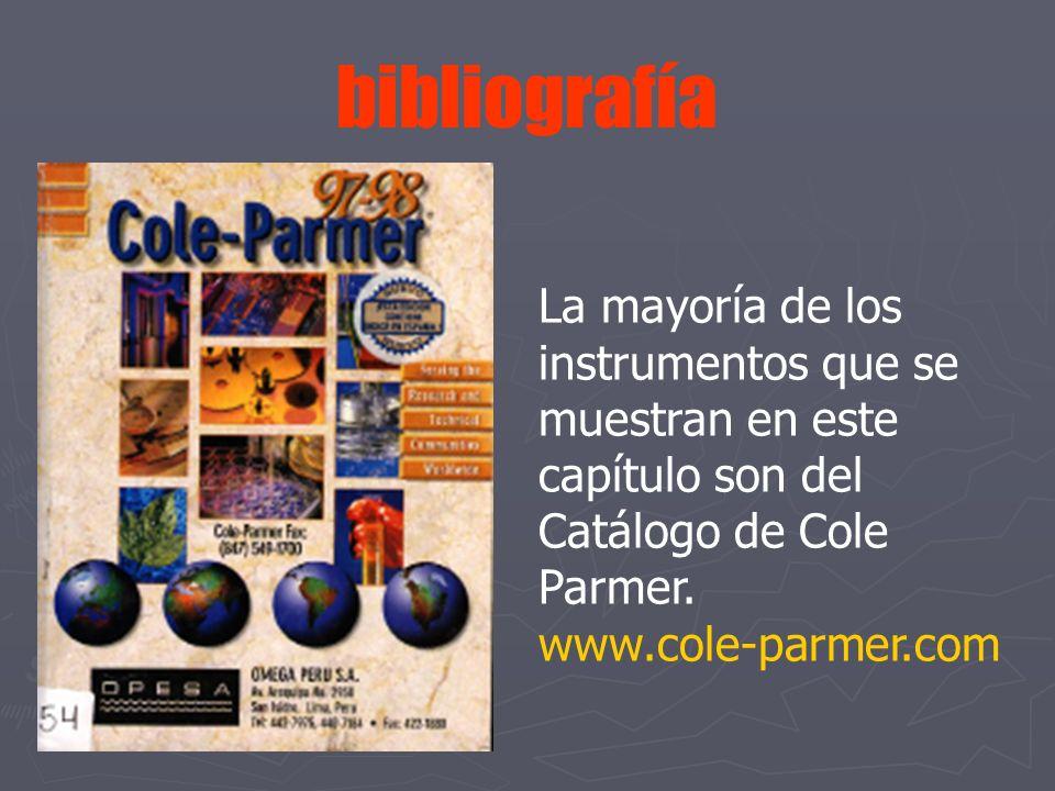 bibliografía La mayoría de los instrumentos que se muestran en este capítulo son del Catálogo de Cole Parmer.