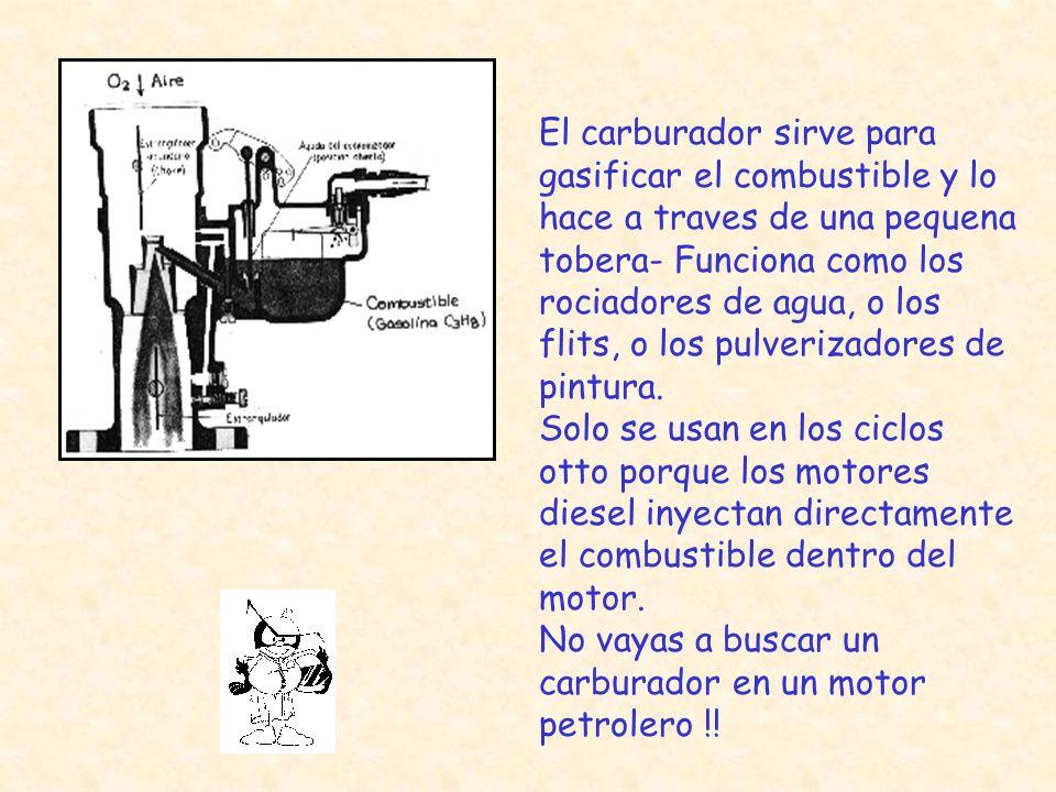 El carburador sirve para gasificar el combustible y lo hace a traves de una pequena tobera- Funciona como los rociadores de agua, o los flits, o los pulverizadores de pintura.