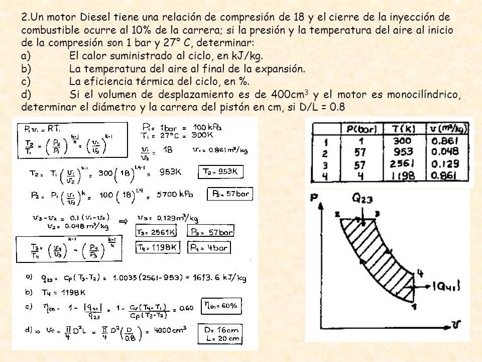 2.Un motor Diesel tiene una relación de compresión de 18 y el cierre de la inyección de combustible ocurre al 10% de la carrera; si la presión y la temperatura del aire al inicio de la compresión son 1 bar y 27° C, determinar: