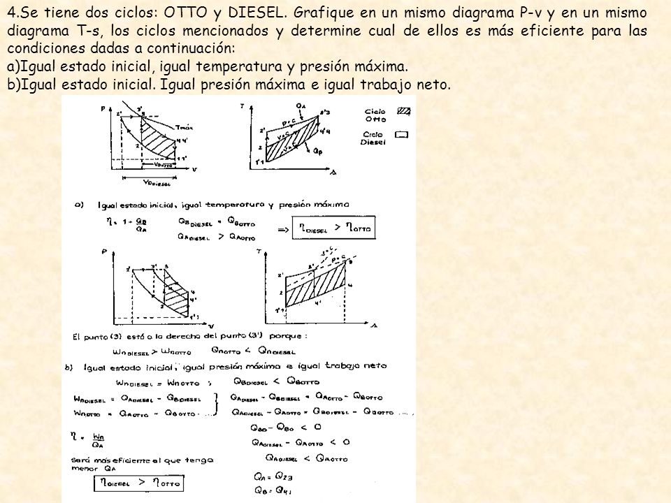 4. Se tiene dos ciclos: OTTO y DIESEL