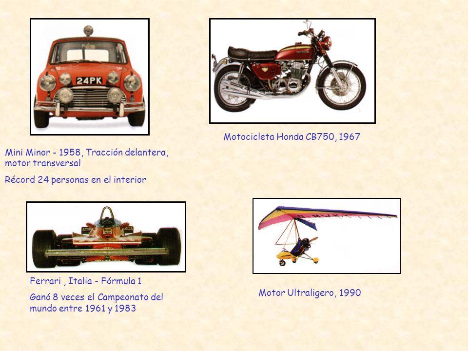 Motocicleta Honda CB750, 1967 Mini Minor - 1958, Tracción delantera, motor transversal. Récord 24 personas en el interior.