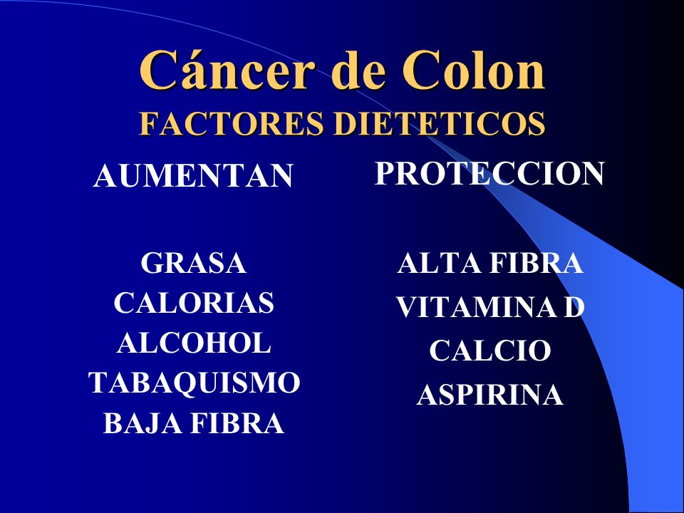 Cáncer de Colon FACTORES DIETETICOS