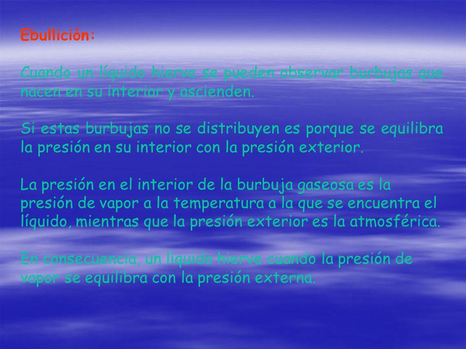 Ebullición: Cuando un líquido hierve se pueden observar burbujas que nacen en su interior y ascienden.