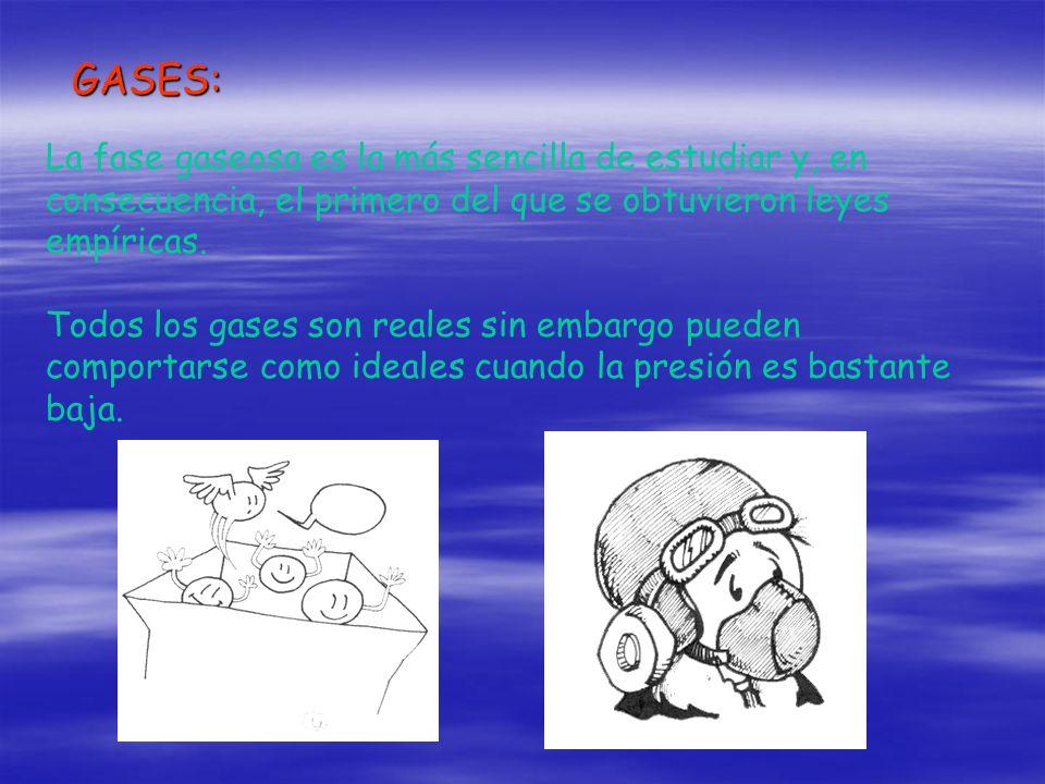 GASES: La fase gaseosa es la más sencilla de estudiar y, en consecuencia, el primero del que se obtuvieron leyes empíricas.