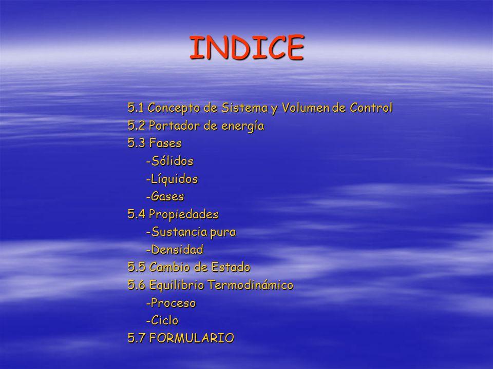 INDICE 5.1 Concepto de Sistema y Volumen de Control