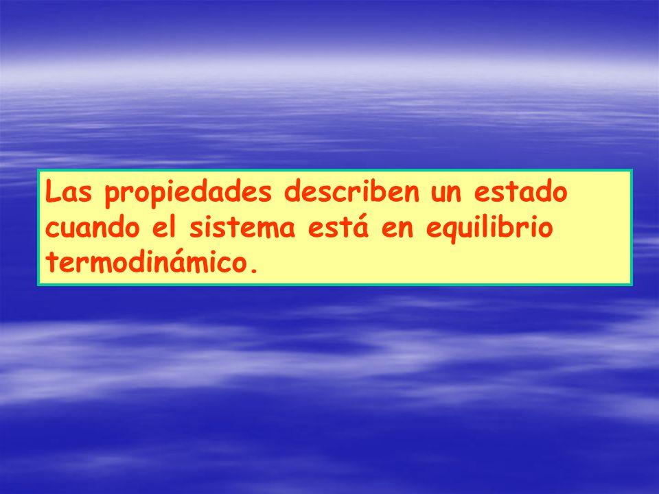 Las propiedades describen un estado cuando el sistema está en equilibrio termodinámico.