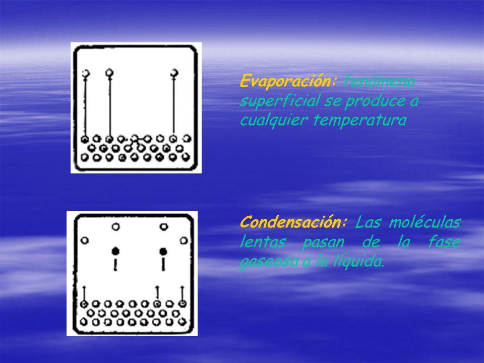 Evaporación: fenómeno superficial se produce a cualquier temperatura