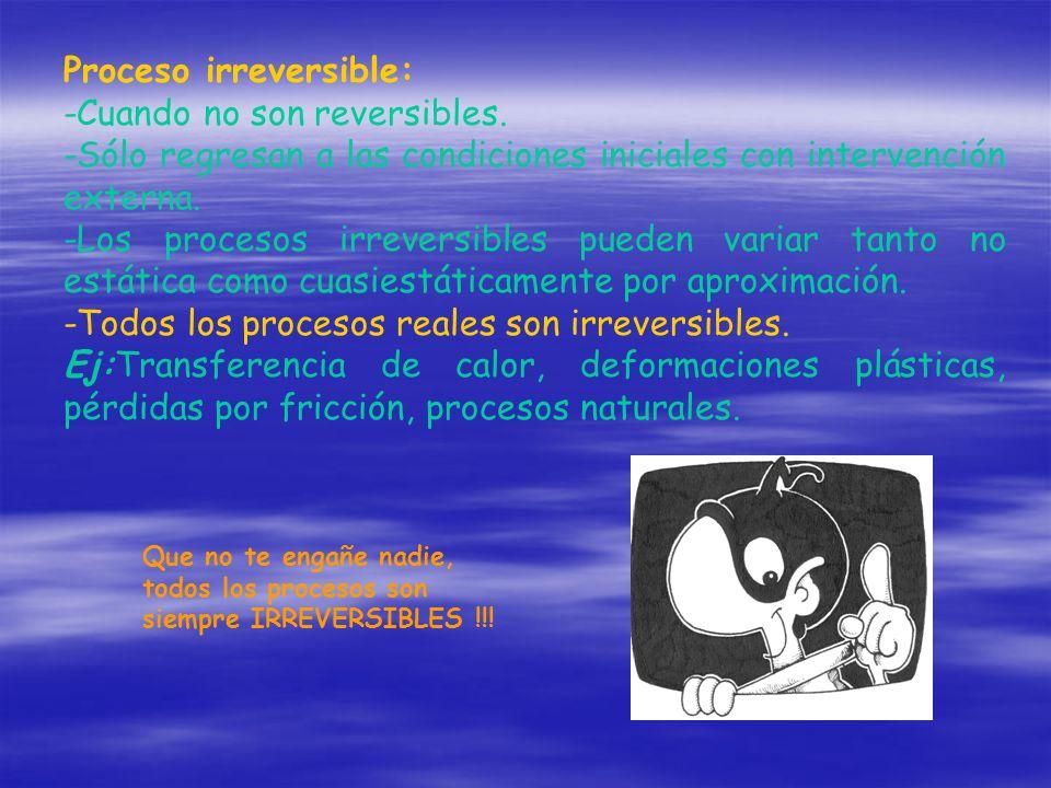 Proceso irreversible: -Cuando no son reversibles.