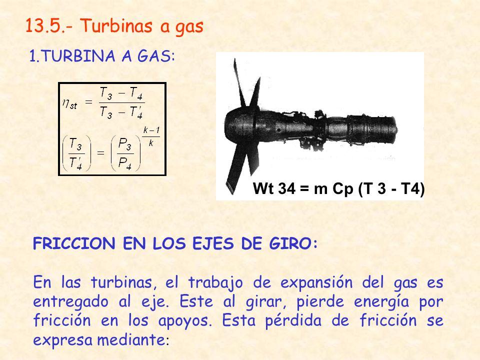 13.5.- Turbinas a gas 1.TURBINA A GAS: Wt 34 = m Cp (T 3 - T4)