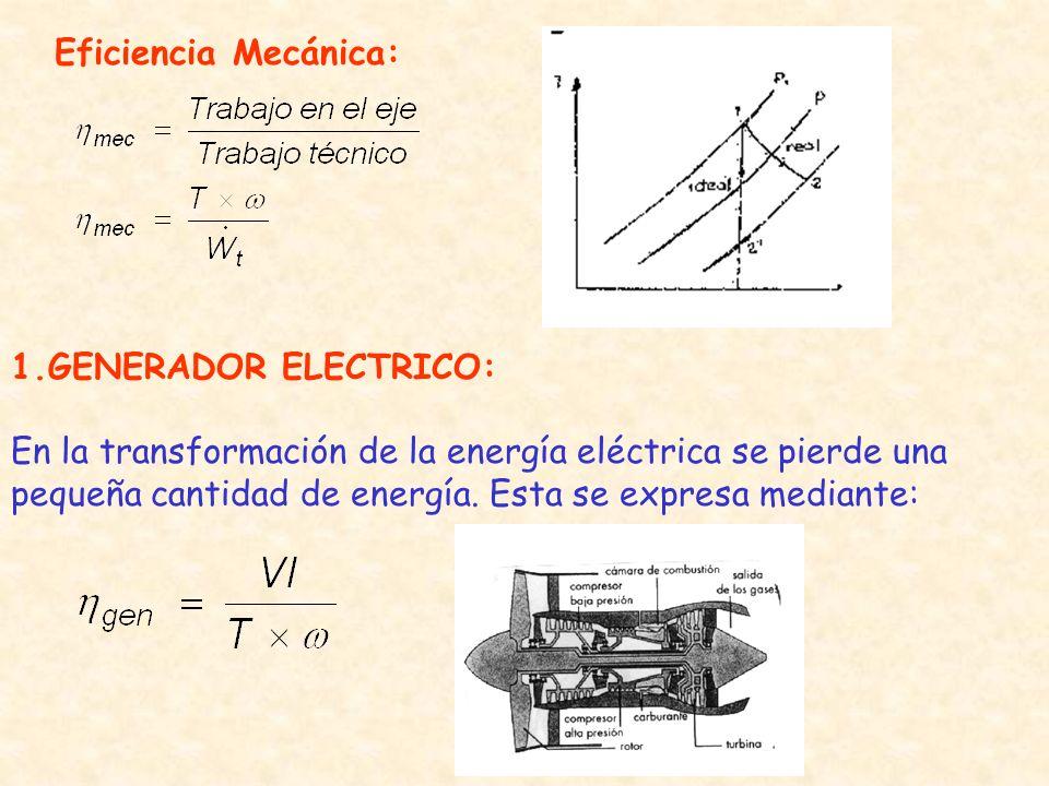 Eficiencia Mecánica: 1.GENERADOR ELECTRICO: