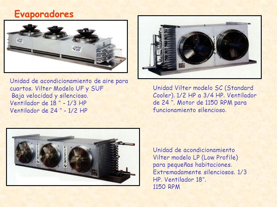 Evaporadores Unidad de acondicionamiento de aire para cuartos. Vilter Modelo UF y SUF. Baja velocidad y silencioso.