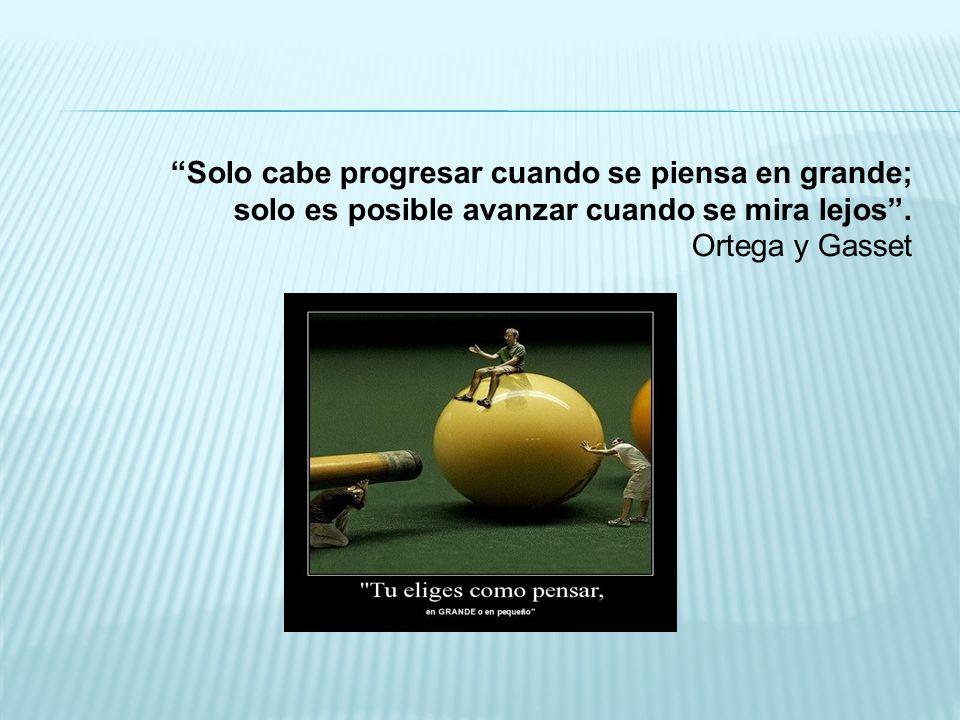 Solo cabe progresar cuando se piensa en grande; solo es posible avanzar cuando se mira lejos .