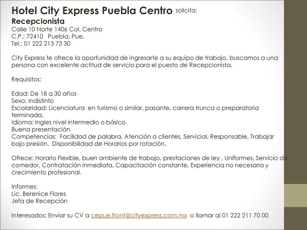 Hotel City Express Angelopolis solicita: - ppt descargar