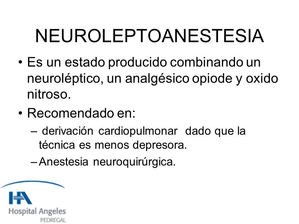 NEUROLEPTOANESTESIA Es un estado producido combinando un neuroléptico, un analgésico opiode y oxido nitroso.