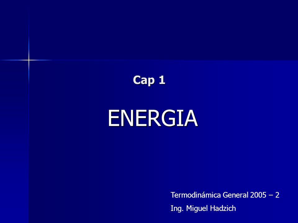 Cap 1 ENERGIA Termodinámica General 2005 – 2 Ing. Miguel Hadzich