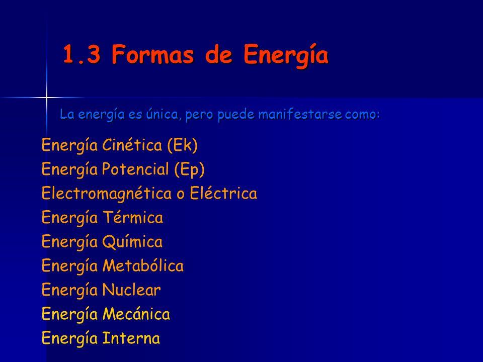 1.3 Formas de Energía Energía Cinética (Ek) Energía Potencial (Ep)