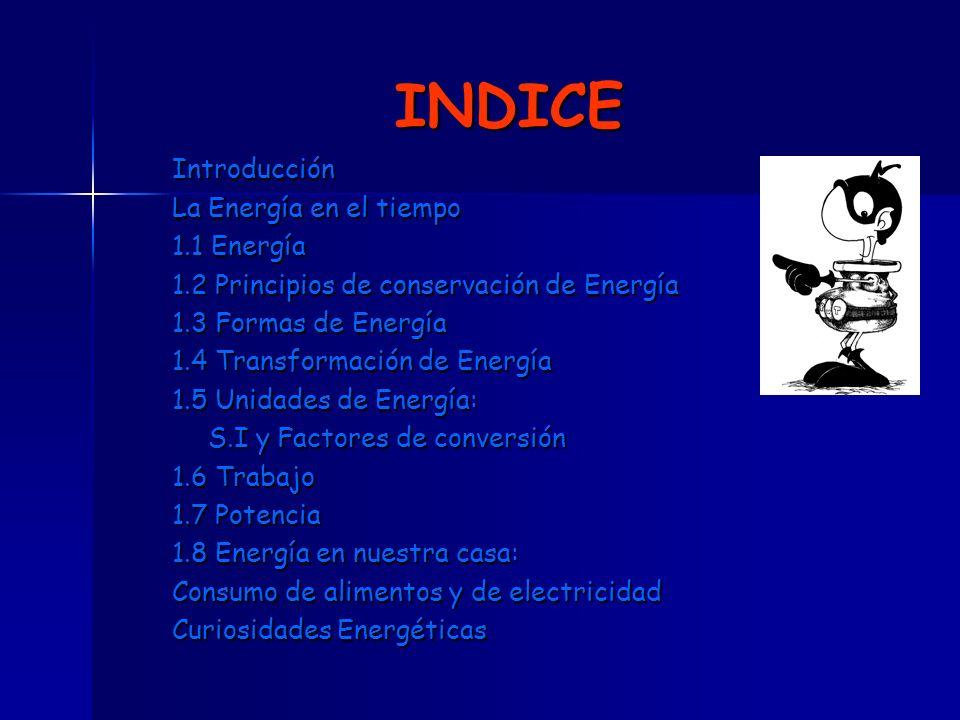 INDICE Introducción La Energía en el tiempo 1.1 Energía