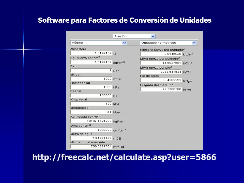 Software para Factores de Conversión de Unidades