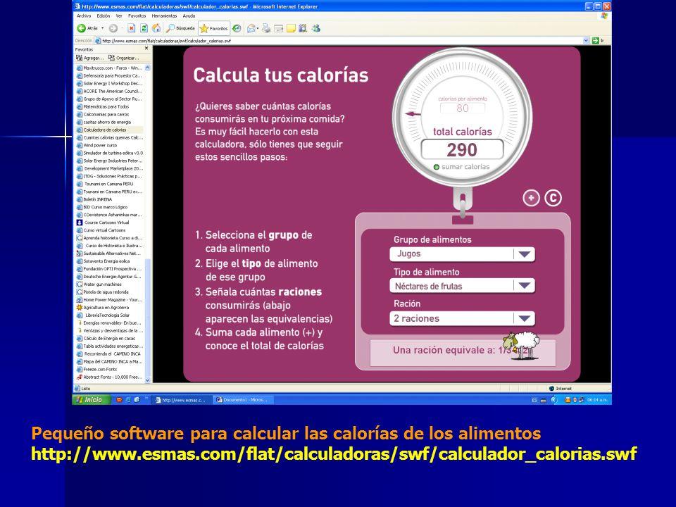 Pequeño software para calcular las calorías de los alimentos