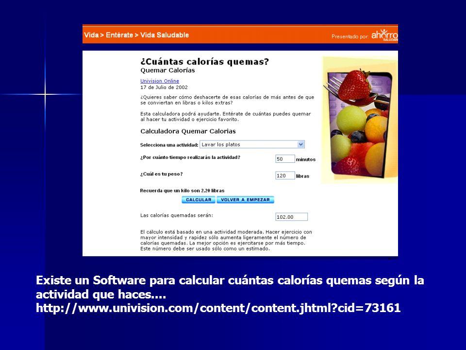 Existe un Software para calcular cuántas calorías quemas según la actividad que haces....