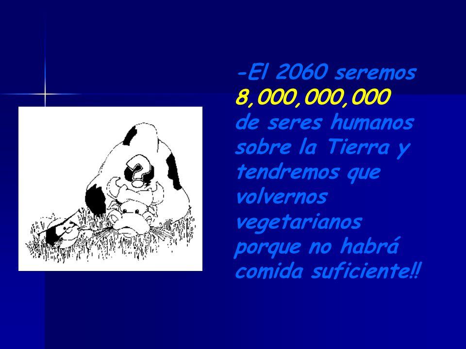 -El 2060 seremos 8,000,000,000 de seres humanos sobre la Tierra y tendremos que volvernos vegetarianos porque no habrá comida suficiente!!