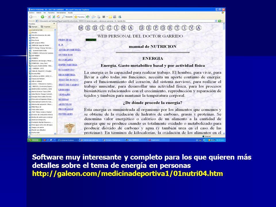 Software muy interesante y completo para los que quieren más detalles sobre el tema de energía en personas